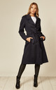 Ruby Navy Military Duster Trench Coat by De La Creme Fashions