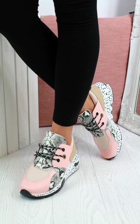 North Chunky Lace Up Trainers In Pink by Larena Fashion