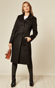 Ruby Black Military Duster Trench Coat by De La Creme Fashions