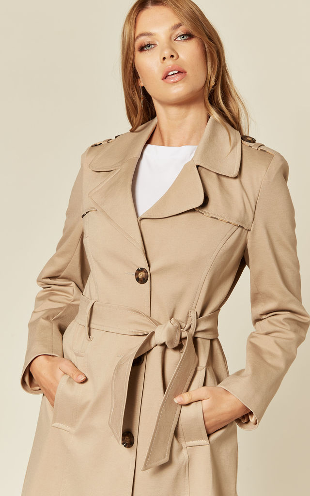 Ruby Beige Military Duster Trench Coat by De La Creme Fashions