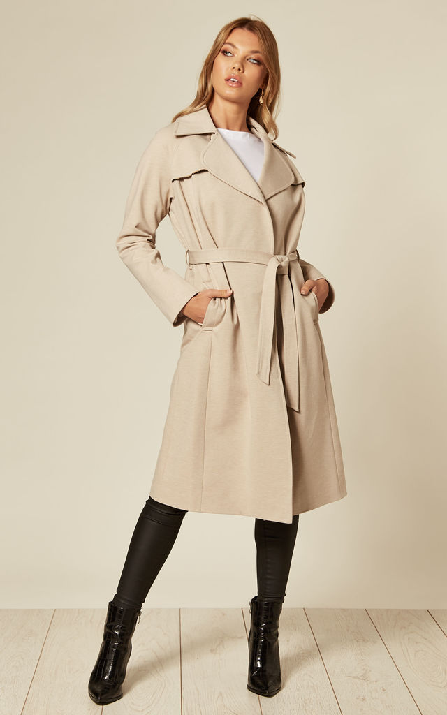 Louise Stone Wrap Around Duster Trench Coat by De La Creme Fashions