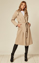 Louise Beige Wrap Around Duster Trench Coat by De La Creme Fashions