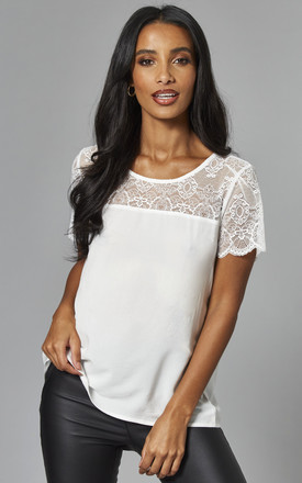 Lace Detail Short Sleeve Top In White by VILA Product photo