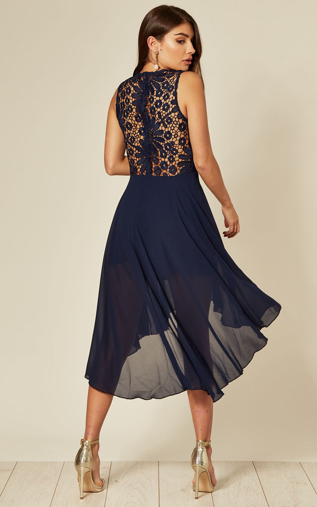 Lace Embroidered High Low Dress in Navy by Cutie London