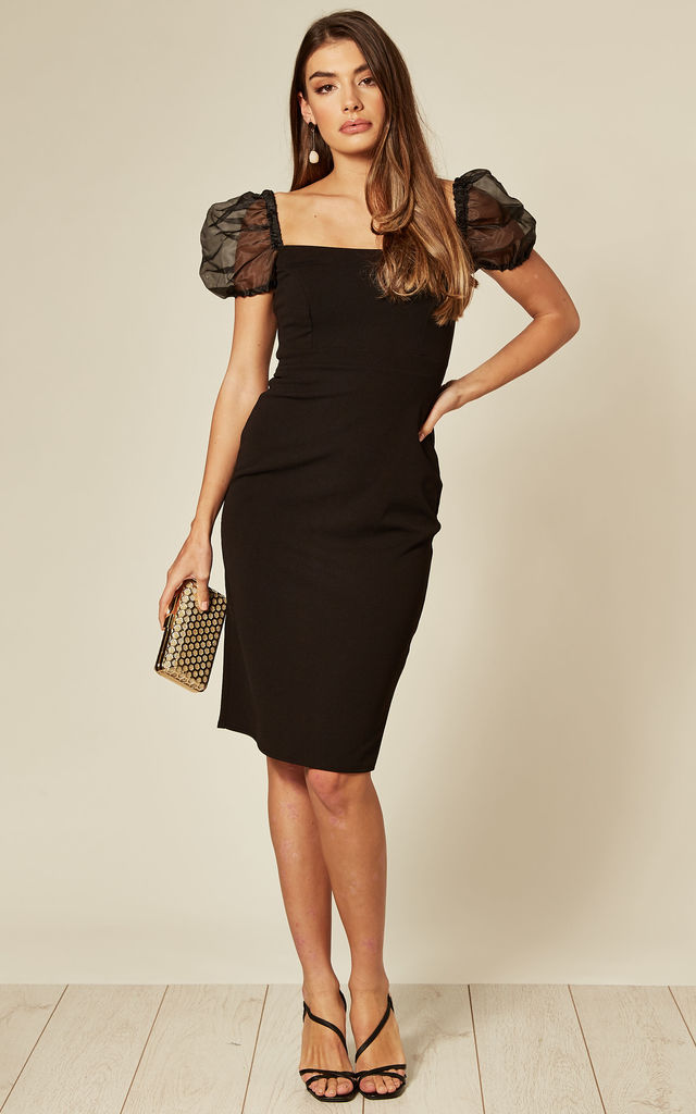 Black Bodcyon Dress with Puff Organza Sleeves by City Goddess