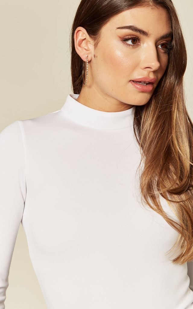 White Back-Zip High Neck Fitted Bodysuit Top Loungewear by KANDS LONDON