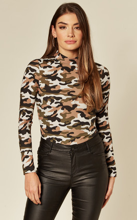Camouflage Army Back Zip  High Neck Fitted Top Bodysuit by KANDS LONDON Product photo