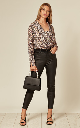 Leopard Pure Silk Blazer Bodysuit by KANDS LONDON Product photo