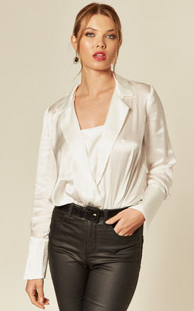 White Pure Silk Blazer Shirt Top Bodysuit by KANDS LONDON Product photo