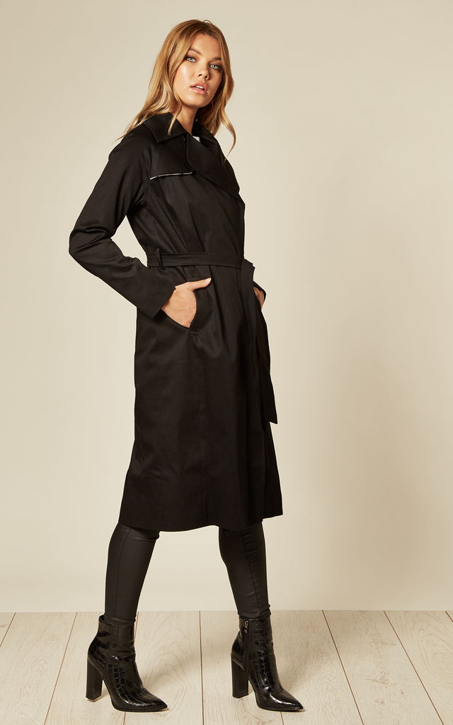Louise Black Wrap Around Duster Trench Coat by De La Creme Fashions
