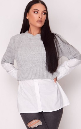 Grey Knit Jumper with Shirt Hem by Hachu