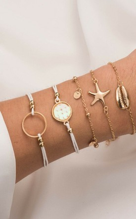 Pack Of 5 | White & Gold Circle Starfish Chain Bracelet Set by GIGILAND Product photo