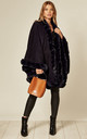 Ultra Soft Faux Fur Trim Swing Poncho Cape in Navy by LOES House