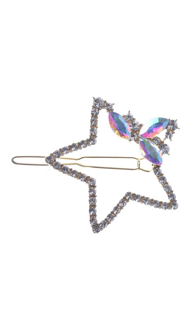 Star Rhinestone Diamante Hair Clips In Clear by LOES House