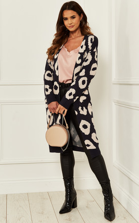 Longline Cardigan In Navy Leopard by Bella and Blue Product photo