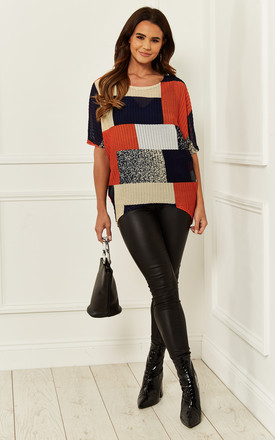 Colour Block Knitted Top In Orange by Bella and Blue Product photo