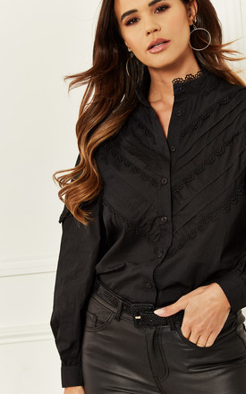 High Neck Shirt With Pleated Detail In Black by Bella and Blue Product photo