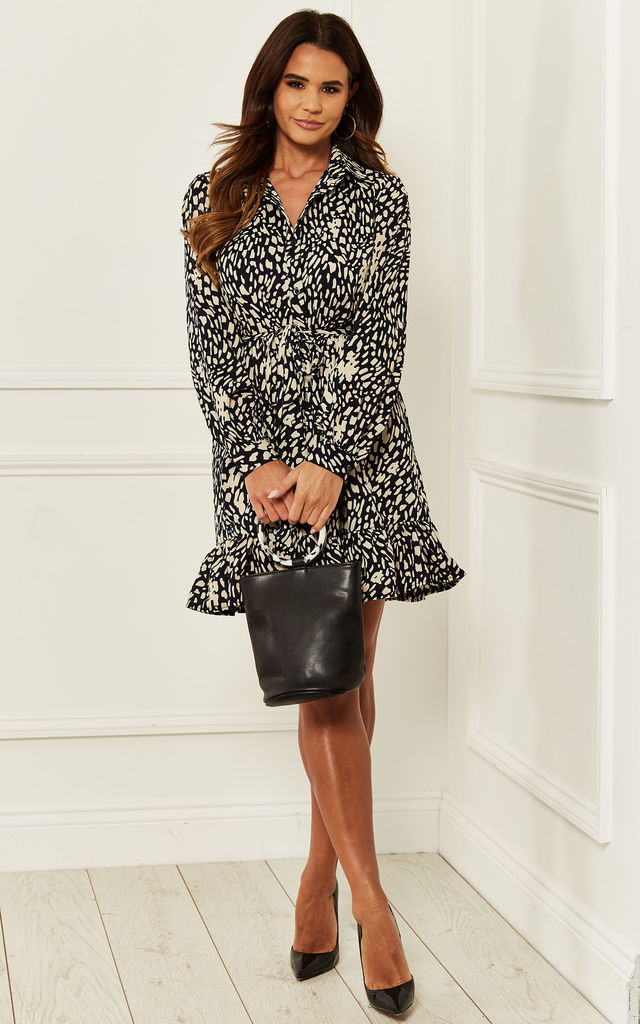 Mini Shirt Dress in Darkest Navy Animal Print by Bella and Blue