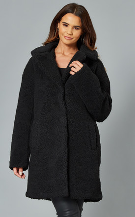Teddy Coat With High Collar In Black by VILA Product photo