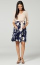 Maternity Skater Dress in Nude & Navy Floral Print 525 by Chelsea Clark