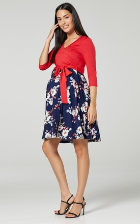 Maternity Skater Dress in Red & Navy Floral Print 525 by Chelsea Clark
