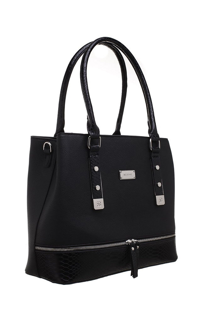 CROC PRINT ZIP FEATURE TOTE BAG IN BLACK by BESSIE LONDON