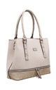 CROC PRINT ZIP FEATURE TOTE BAG IN BEIGE by BESSIE LONDON