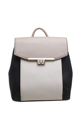 FLAP OVER BACKPACK IN BLACK/MULTICOLOUR by BESSIE LONDON