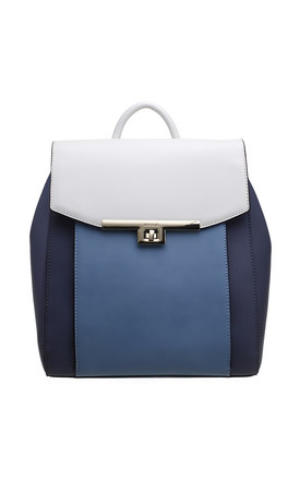 FLAP OVER BACKPACK IN BLUE/MULTICOLOUR by BESSIE LONDON