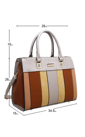 CROC PRINT TOTE BAG IN BROWN/MULTICOLOUR by BESSIE LONDON