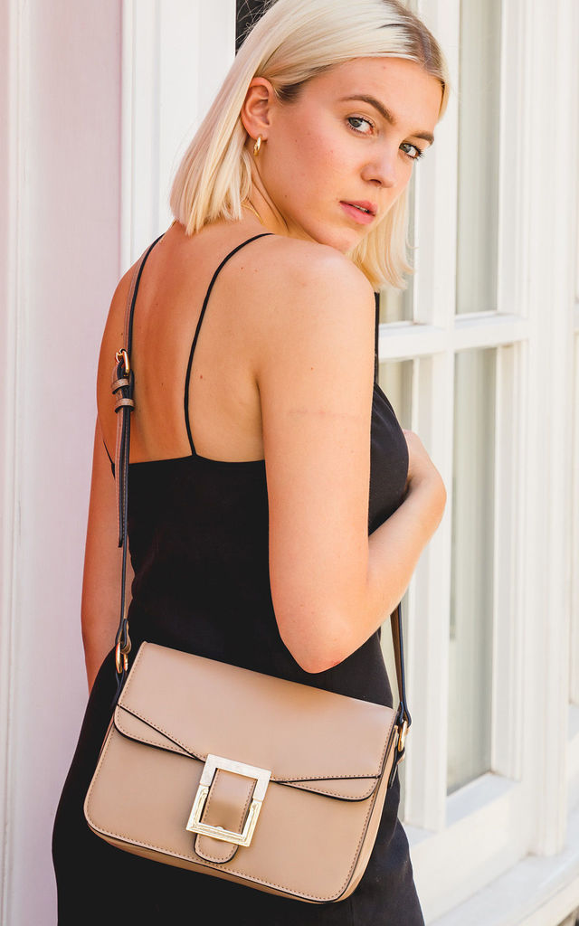 BUCKLE FLAP OVER CROSS BODY BAG in KHAKI by BESSIE LONDON