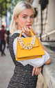 ACRYLIC CHAIN TOP HANDLE FLAP OVER BAG YELLOW by BESSIE LONDON