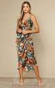 Tie Side Wrap Silky Dress in Green Orange Floral by Another Look