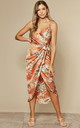 Tie Side Wrap Silky Dress in Orange Floral by Another Look
