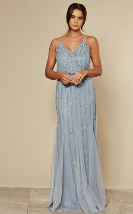 Keeva Maxi Dress In Light Blue With Gold Beading by Lace & Beads Product photo