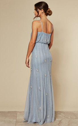Keeva Maxi Dress in Light Blue with Gold Beading by Lace & Beads