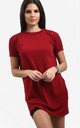 Rosie Oversized Tshirt Dress In Wine Red by Oops Fashion