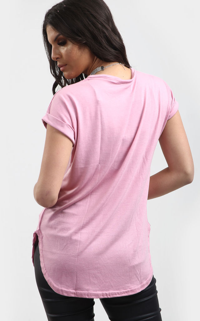 Short Sleeve T-Shirt with Curved Hem in Rose Pink by Oops Fashion