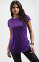 Purple Short Sleeve T-Shirt with Curved Hem by Oops Fashion