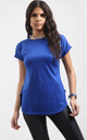 Blue Short Sleeve T-Shirt with Curved Hem by Oops Fashion