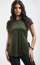 Khaki Short Sleeve T-Shirt with Curved Hem by Oops Fashion