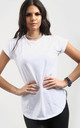 White Short Sleeve T-Shirt with Curved Hem by Oops Fashion