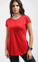 Red Short Sleeve T-Shirt with Curved Hem by Oops Fashion