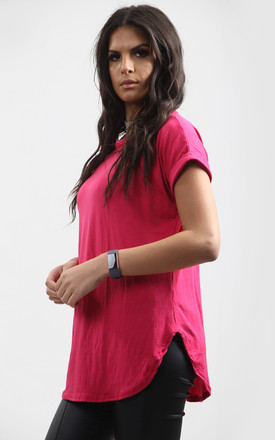 Pink Short Sleeve T-Shirt with Curved Hem by Oops Fashion