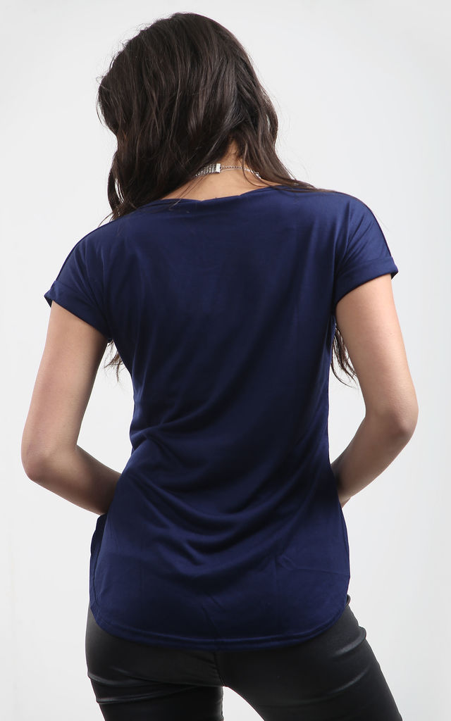 Navy sShort Sleeve T-Shirt with Curved Hem by Oops Fashion