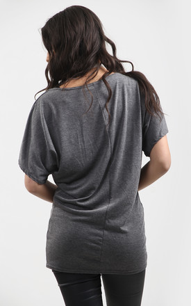 Oversized Batwing T-shirt in Grey by Oops Fashion