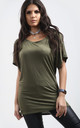 Oversized Batwing T-shirt in Khaki by Oops Fashion