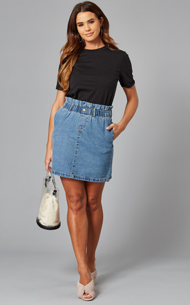 Paperbag Denim Mini Skirt In Blue by Noisy May Product photo