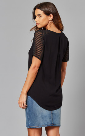 V Neck Top With Mesh Patterned Sleeves in Black by Object