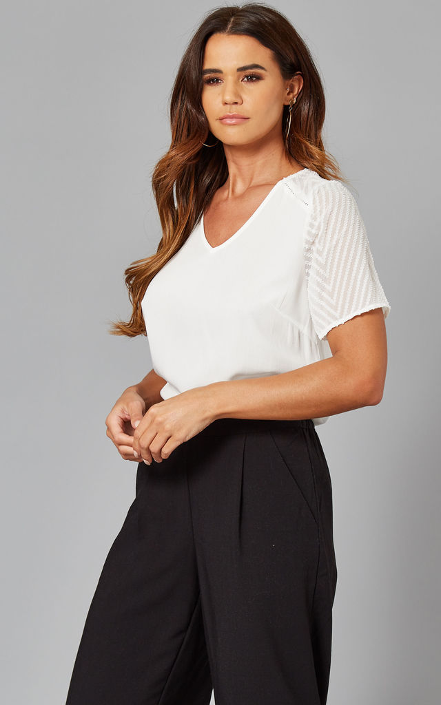 V Neck Top With Mesh Patterned Sleeves In White by Object